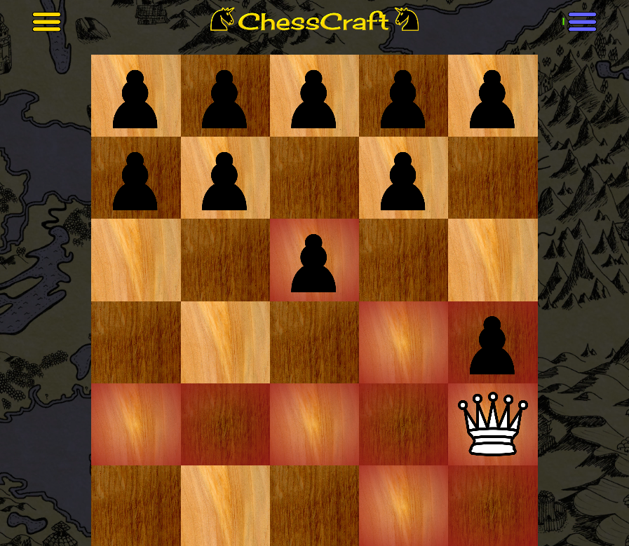 example of a learning chess game with a queen versus a few pawns